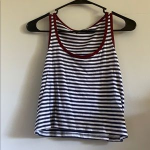 Bershka Navy and White Striped Crop Top